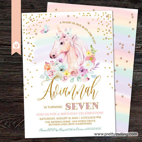 Unicorn Birthday Party Invitation - A Magical Day