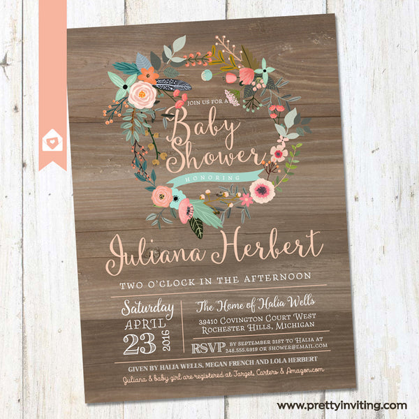 Rustic Wood & Floral Wreath Baby Shower Invitation - Shabby Chic Country Shower - Mint, CoralInvite