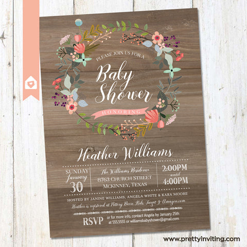 Rustic Wood & Floral Wreath Baby Shower Invitation - Shabby Chic Country Shower Invite