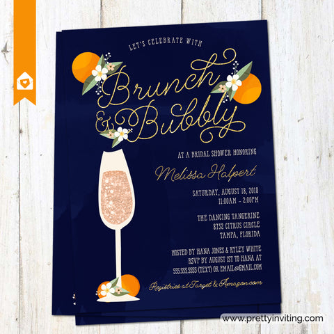 Brunch and Bubbly Bridal Shower Invitation - Citrus Tangerine