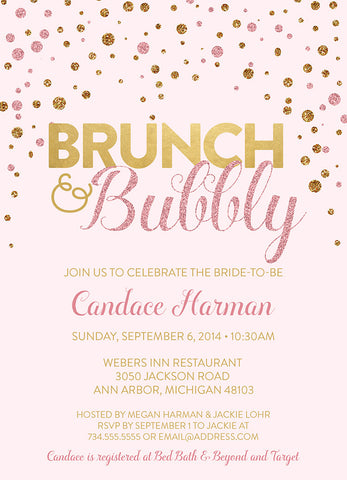 Brunch & Bubbly Bridal Shower Invitation, Pink and Gold Glitter