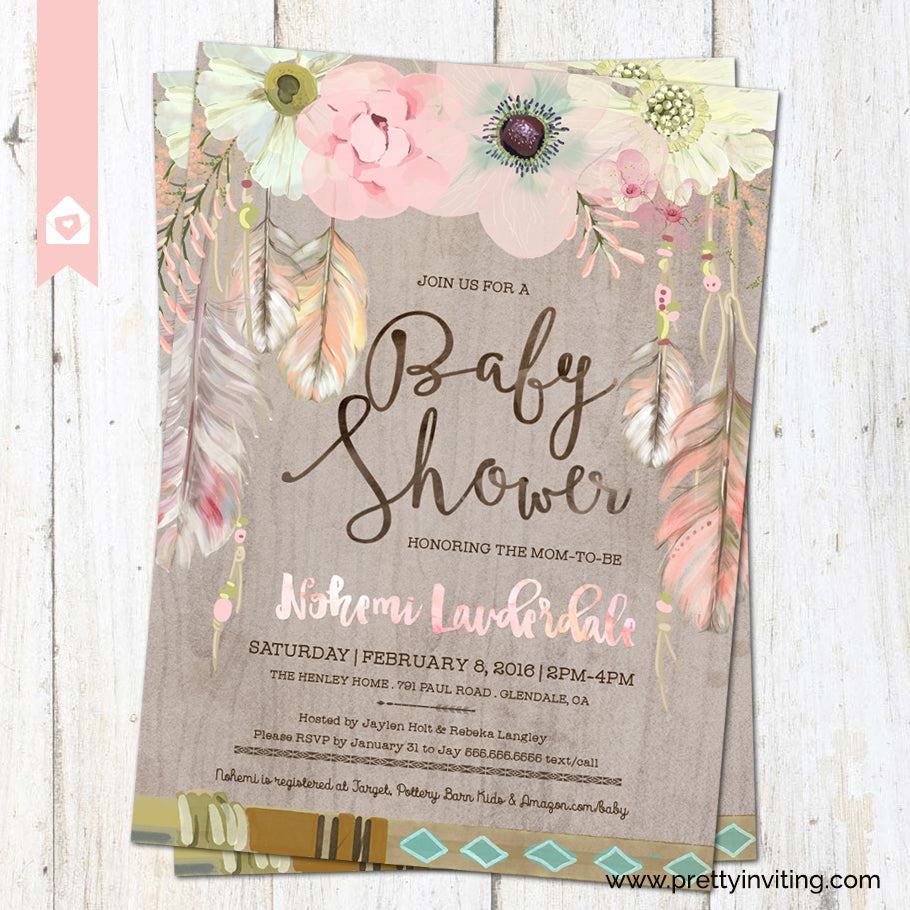 Boho Chic Baby Shower Invitation - Rustic Floral Feathers in ...
