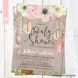 Boho Chic Baby Shower Invitation - Rustic Floral Feathers in Watercolor on Woodgrain Pattern