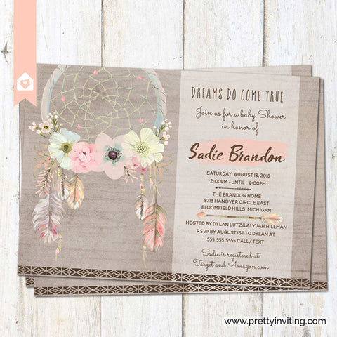 Boho Chic Dreamcatcher Baby Shower Invitation - Dreams Do Come True