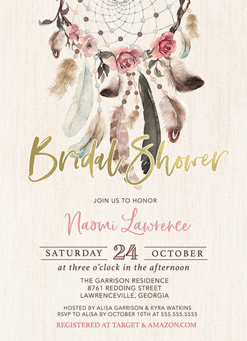 Rosy Dream Catcher Bridal Shower Invitation  - Boho Dreamcatcher Invitation