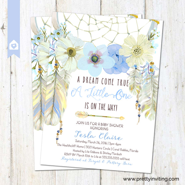 Dreamcatcher Baby Shower Invitation - Dream Come True Blue