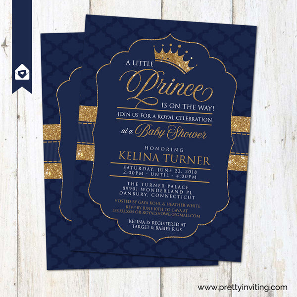 Crown Prince Baby Shower Invitation - Gold and Blue