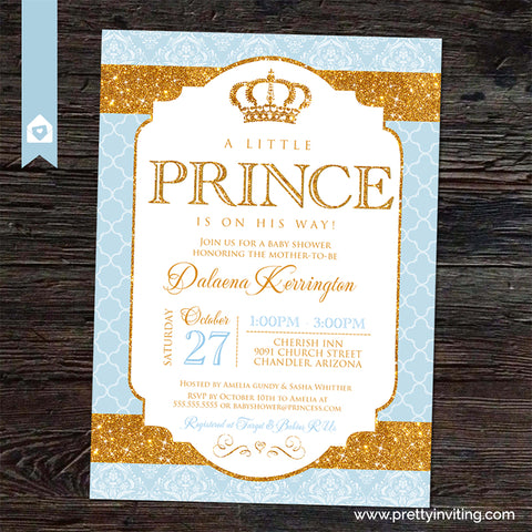 Royal Prince Baby Shower Invitation - Gold and Baby Blue