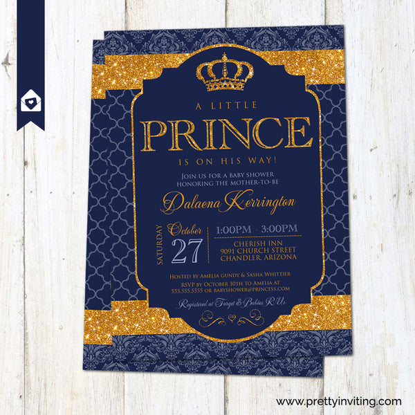 Royal Prince Baby Shower Invitation - Gold and Navy Blue