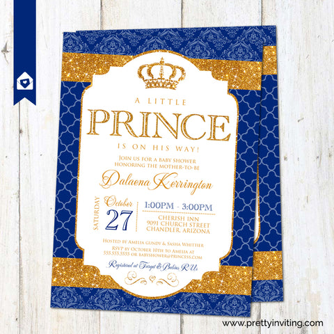 Royal Prince Baby Shower Invitation - Gold and Royal Blue