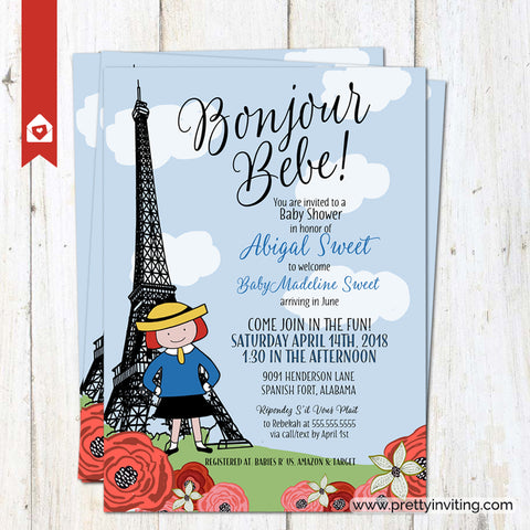Madeline in Paris Eiffel Tower Baby Shower Invitation - Bemelman