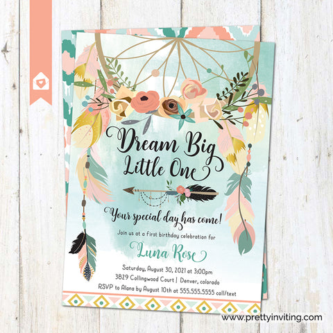 Boho Dream Catcher Feathers Birthday Invitation