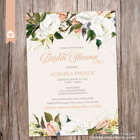 Aurora Elegant Floral Bridal Shower Invitation