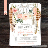 Blushing Rose Dream Catcher Baby Shower Invitation v2