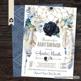 Misty Blue Navy Rose Dream Catcher Baby Shower Invitation v2