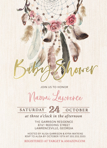 Rosy Dream Catcher Baby Shower Invitation  - Boho Dreamcatcher Invitation