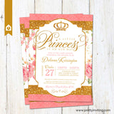 Royal Princess Baby Shower Invitation - Gold Glitter & Shabby Chic Floral - Baby Girl, Birthday - Printable (Coral / Pink)