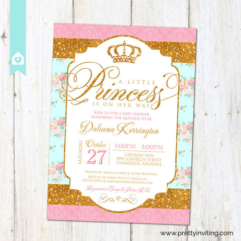 Royal Princess Baby Shower Invitation - Gold Glitter & Shabby Chic Floral - Baby Girl, Birthday - Printable (Pink Turquoise))