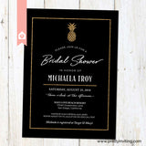 Modern Pineapple Bridal Shower Invitation - Elegant Tropical Luau Invitation - Black & Gold