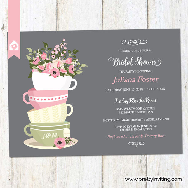 Bridal Shower Tea Party Invitation - Stacked Cups