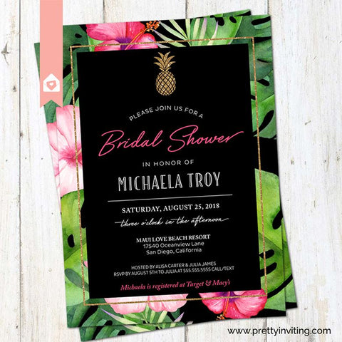 Tropical Pineapple Bridal Shower Invitation - Tropical Flowers Wedding Shower - Luau Invitation