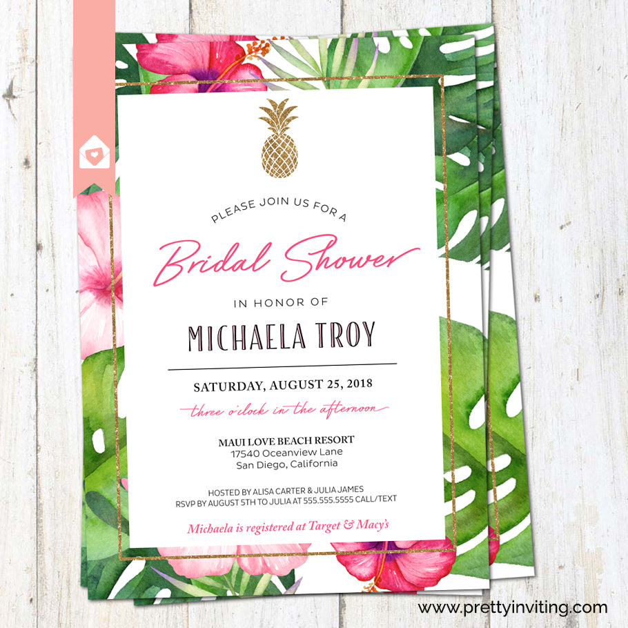 Tropical Pineapple Bridal Shower Invitation - Tropical Flowers ...