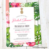 Tropical Pineapple Bridal Shower Invitation - White & Pink - Tropical Flowers Wedding Shower - Luau Invitation