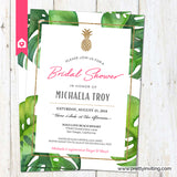 Tropical Pineapple Bridal Shower Invitation - Monstera Palm Leaf White and Pink