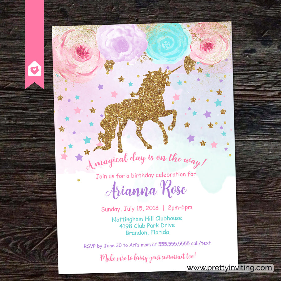 Glitter Unicorn Birthday Party Invitation – Pretty Inviting