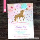 Glitter Unicorn Birthday Party Invitation