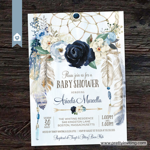 Misty Blue & Navy Rose Dream Catcher Baby Shower Invitation