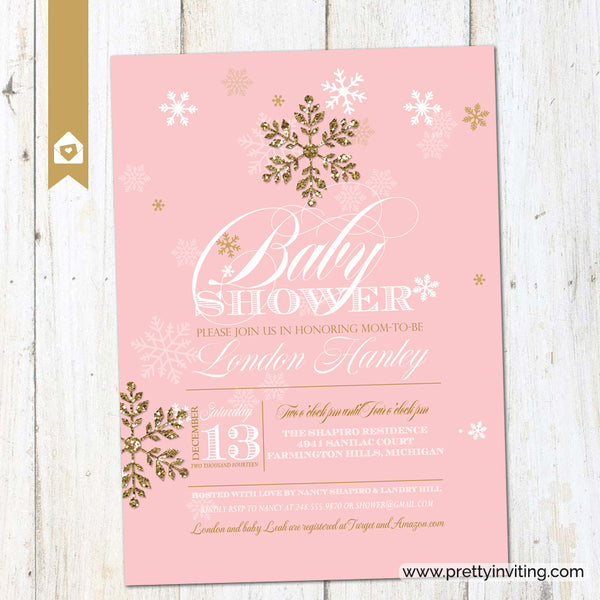 Winter Glitz Snowflake Baby Shower Invitation - Pink & Gold