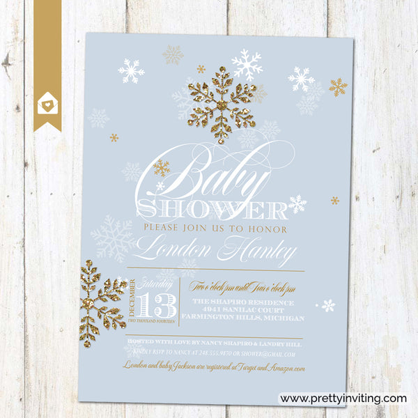 Winter Glitz Snowflake Baby Shower Invitation - Blue & Gold
