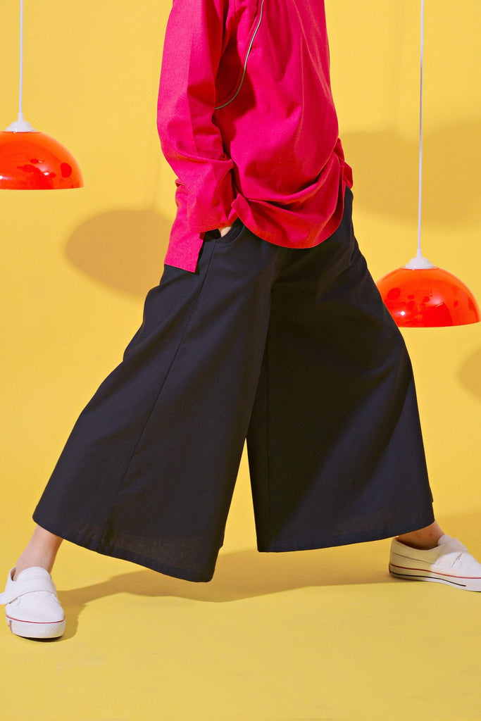 The Spring Super Wide Leg Pants - Navy Blue - POKOKS.COM