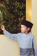 The TENANG Mandarin Kurta - Dusty Blue