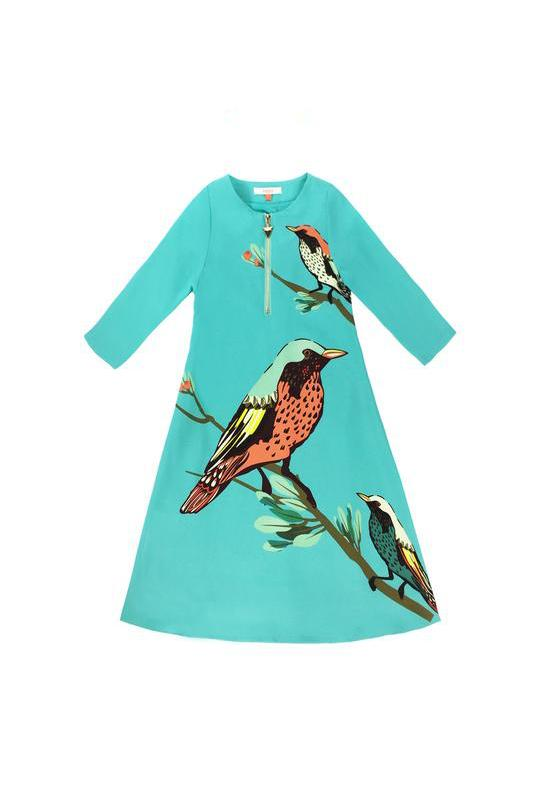 The Tropical Chatty Birds Jubah - Green