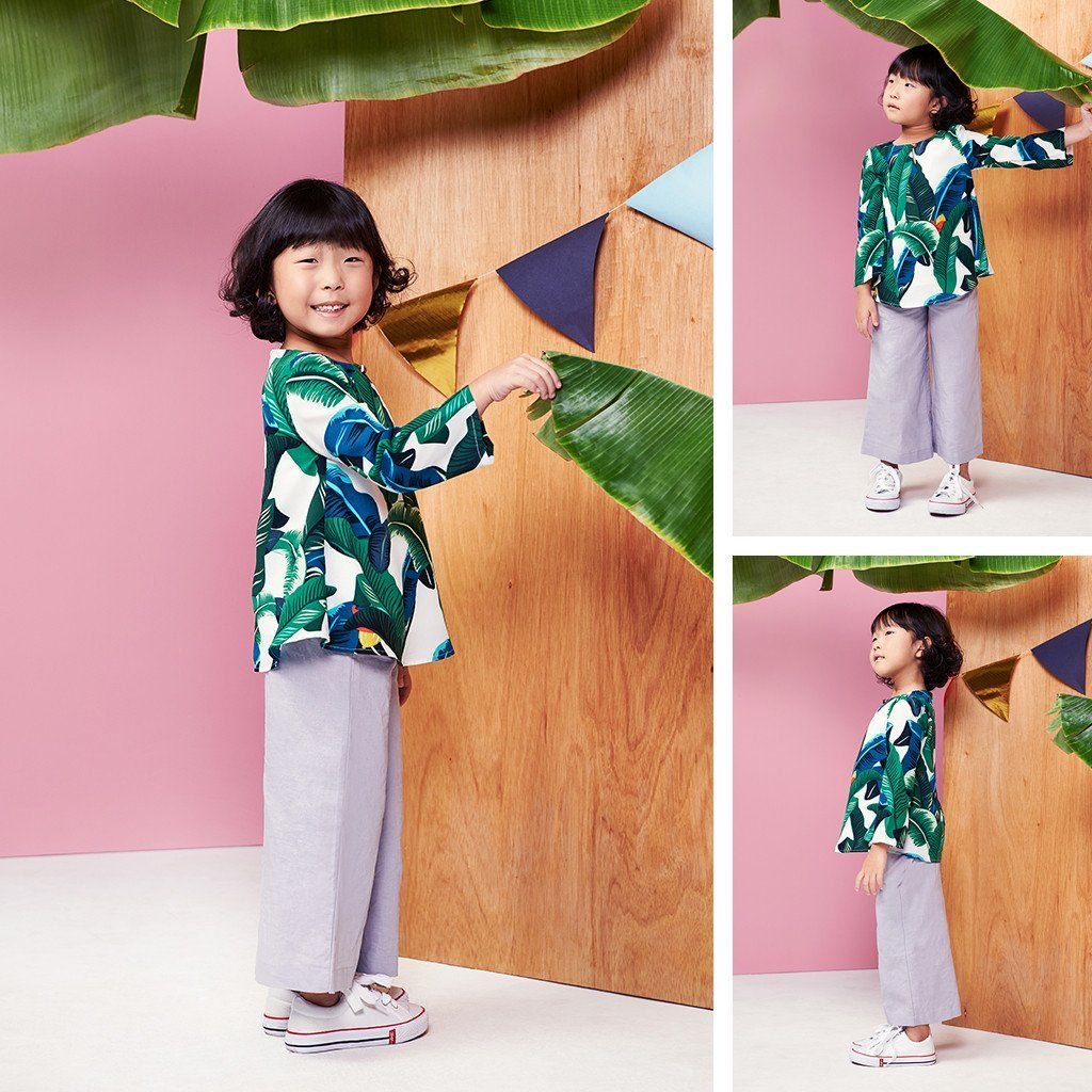 Baju kanak-kanak tropical leaves comfort blouse off white putih