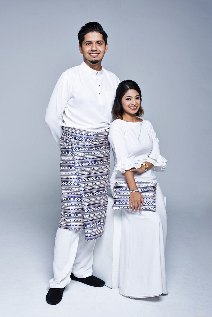 Family Couple matching exclusive set samping dengan pouch royal blue