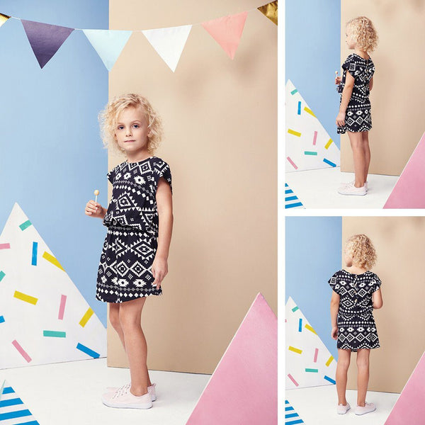 Viscose cute dress in afraca black & white patterned print for kids