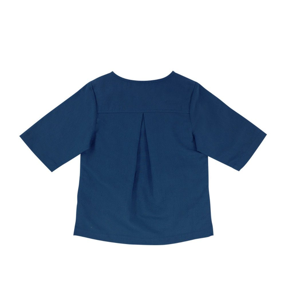 The WAU Linen Top with Pockets - Yale Blue