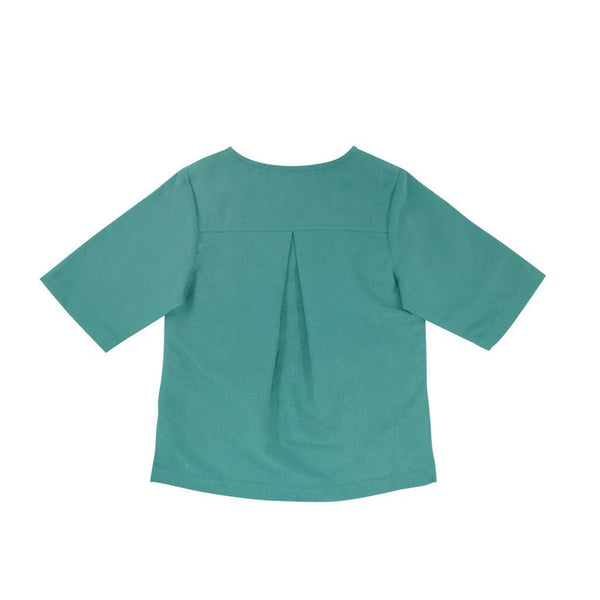 The WAU Linen Top with Pockets - Jade Green