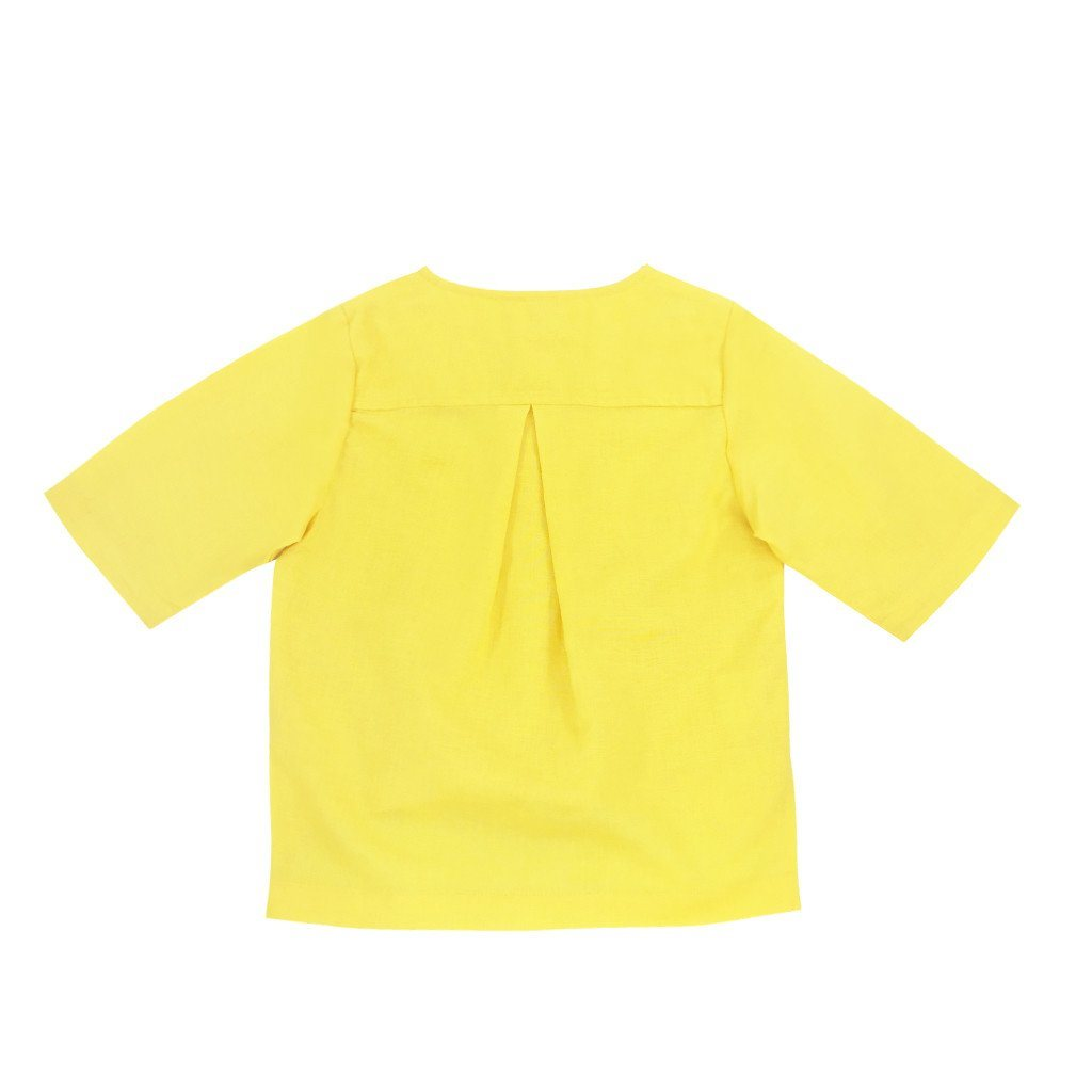 The WAU Linen Top with Pockets - Primrose Yellow