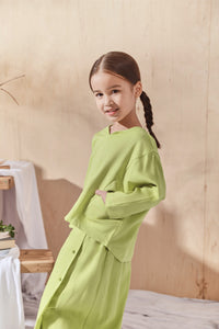 The Balik Dolman Sleeve Blouse - Lime Green