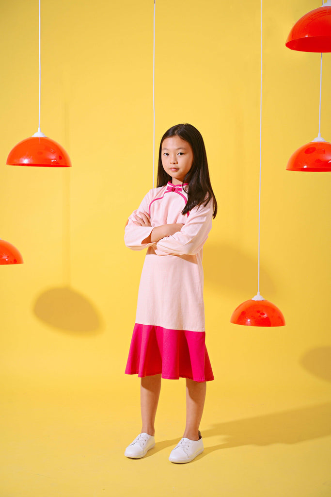 The Spring Midi Cheongsam - Checked with Rose - POKOKS.COM