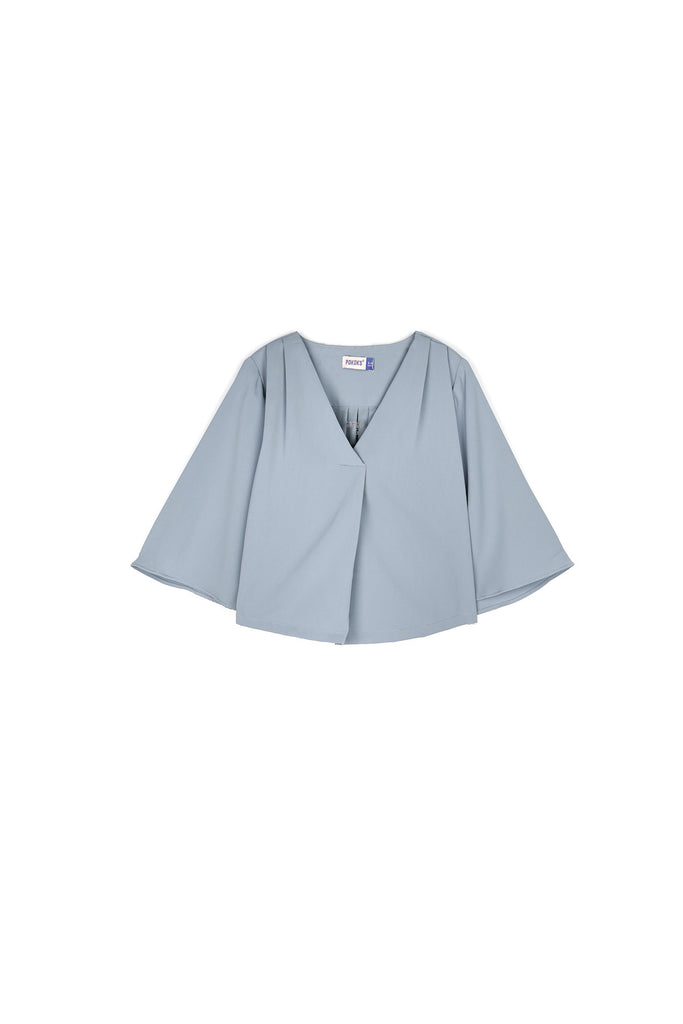 The Nari Butterfly Blouse - Light Pigeon Blue