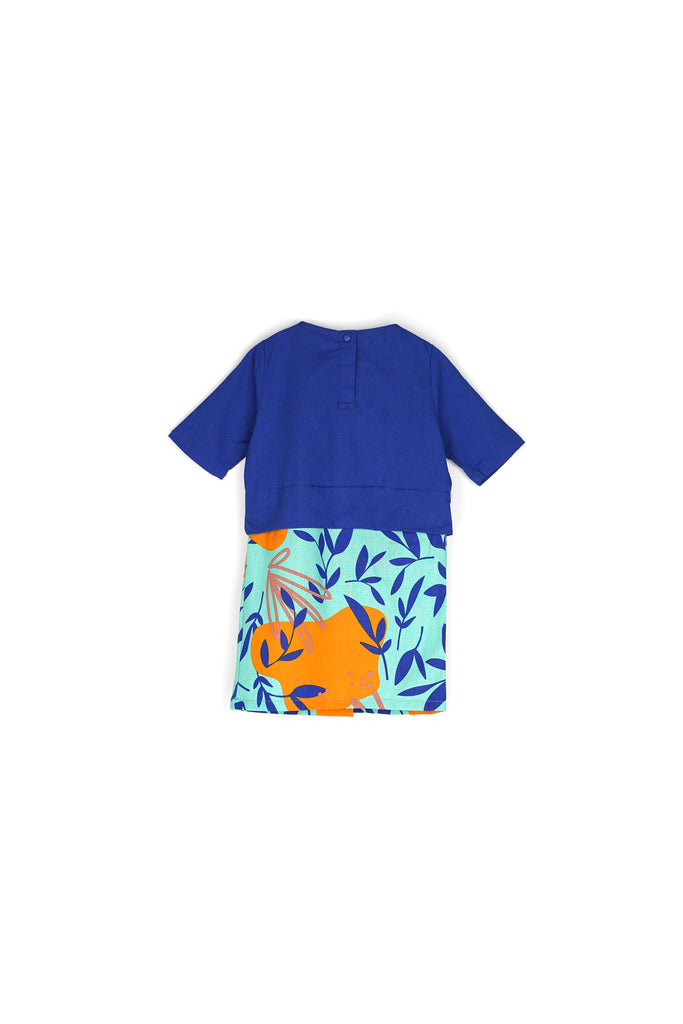 The Nari Babies Kurung - Royal Blue/Glory Print