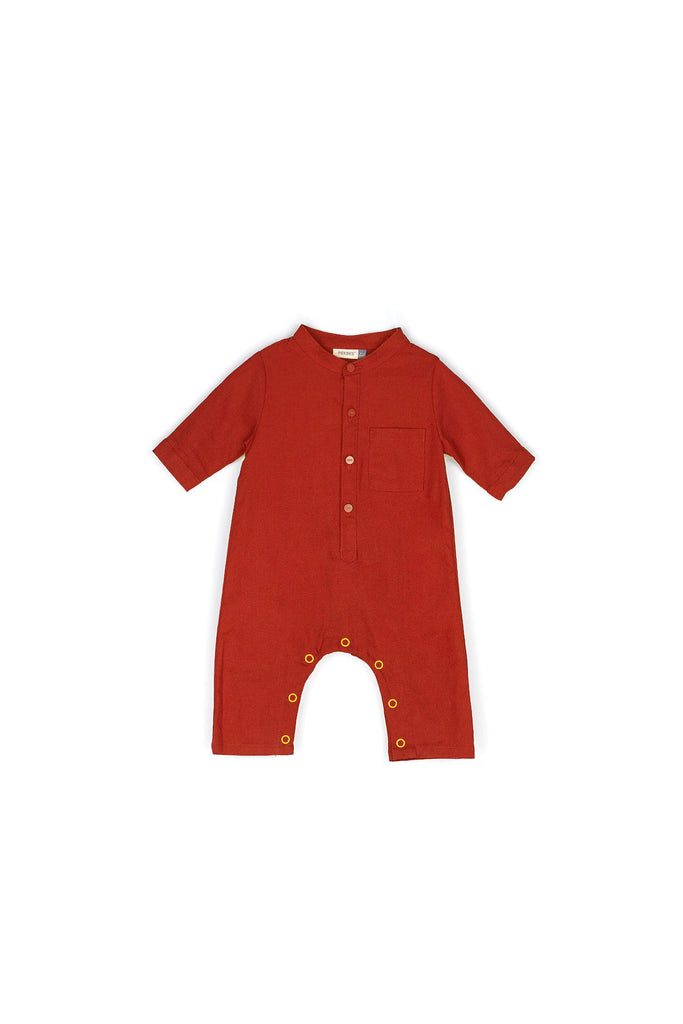 The Rona Babies Jumpsuit - Brown Red