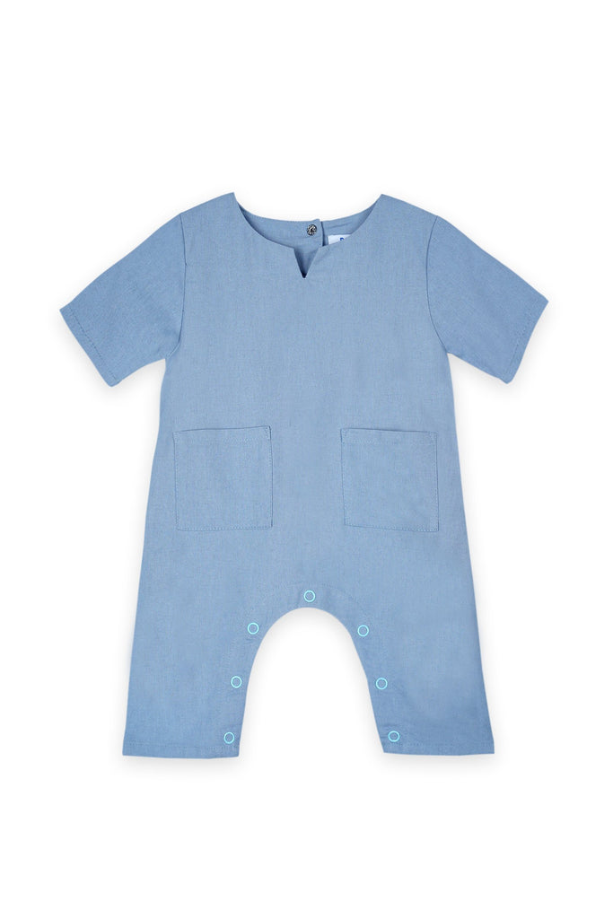 The Bangun Babies Pair Pockets Jumpsuit - Light Pigeon Blue