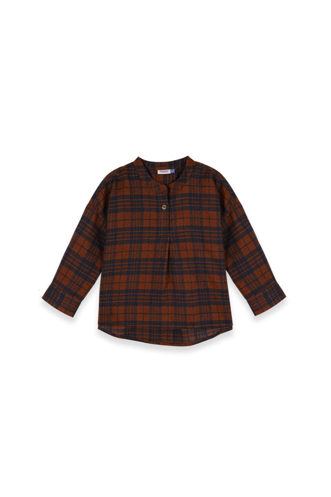 The Teratai Boxy Blouse - Checked Brown - POKOKS.COM