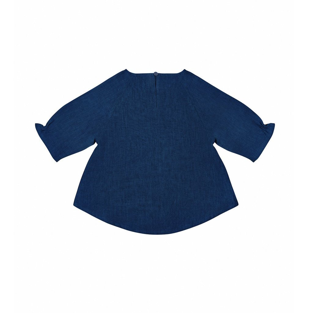 Bishop sleeve blaus kanak-kanak in dark blue
